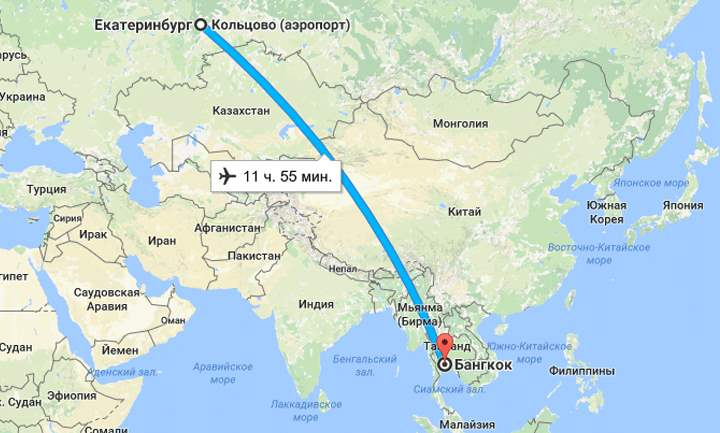 Карта перелета